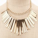 Gold Layered Chain Starburst Fringe Collar Costume Statement Bib Necklace