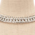 Silver Mesh Chain Bling Rhinestone Collar Choker Costume Statement Necklace