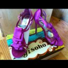 Zigi Soho Cascade Ruffle Pink Fuchsia Berry Strappy Stiletto Sandals Heels 7.5 Sex and the City