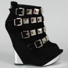 Liliana Silver Pyramid Studded Buckle Wedge Open Peep Toe Boots Suede Booties - Black - 8
