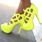 Qupid Confess-55 Caged Cut Out Open Peep Toe Stiletto High Heel Pump - Yellow - 8