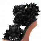 Privileged Zadie Satin Ruffle Flower Floral Heel Less High Wooden Wedge Sandal - Black - 8