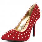 Anne Michelle Velvet Studded Spike Pointy Toe High Heel Stiletto Pump - Red & Gold - 8