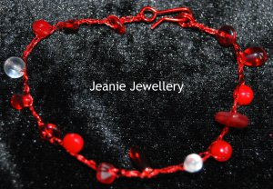 Red Bracelet made in Crochet  with Wire and Czech Glass Beads