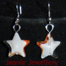 White and Orange Star Pendant and Earrings Set