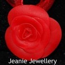 Red Rose Pendant and Ribbon Necklace
