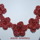 Red Crochet Flower Necklace