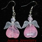 Pink Angel Earrings with Czech Glass Beads