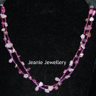 Pink Long Necklace made in Crochet  with Wire and Czech Glass Beads