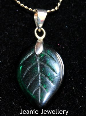 Green Leaf Pendant with Silver Plated Chain