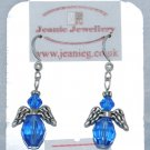 Blue Angel Earrings with Crystal Beads