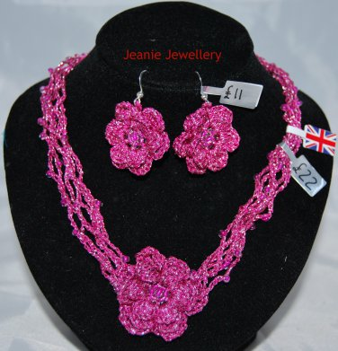Pink Crochet Flower Set of Necklace and  Earrings