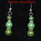 Set of Olive green Necklace and Earrings Made from Glass Pearls and Tibetan Silver Spacers