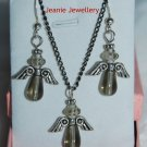 Set of Grey Angels Pendant and Earrings