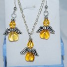 Set of brown Angels Pendant and Earrings