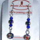 Blue Crystal and Cloisonne Earrings