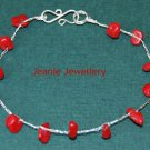 Sterling Silver Crochet Bracelet with Coral dyed