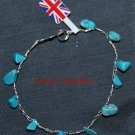 Sterling Silver Crochet Bracelet with Turquoise Howlite Gemstone