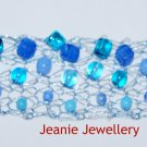 Blue Knitted Bracelet with Wire and Czech Glass Beads