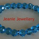 Light Blue Glass Bead Bracelet with Rhinestone