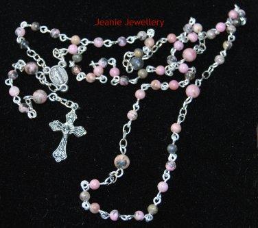 Rosary made with Rhondonite Gemstones