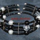 Black Memory Wire Bracelet with Czech Glass Beads
