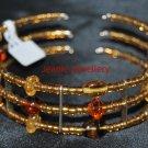 Brown Memory Wire Bracelet with Czech Glass Beads
