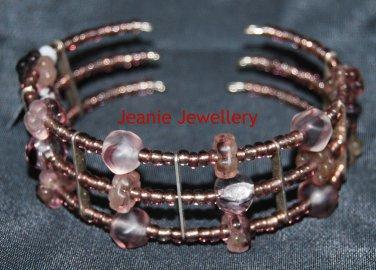 Lilac Memory Wire Bracelet with Czech Glass Beads