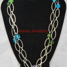 Blue, Green and Purple Necklace made with Glass Beads and Oval Silver Plated Chain