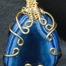 Blue Agate Pendant with Gold Colour Wire