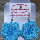 Blue crochet flower earring