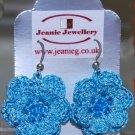 Blue crochet flower earring