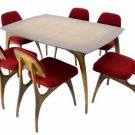 Mid Century Modern Horn Finish Walnut Dining Table 6 Chairs Set Kagan Decor