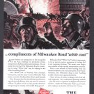 1943 MILWAUKEE ROAD Railways WWII Era Print Ad