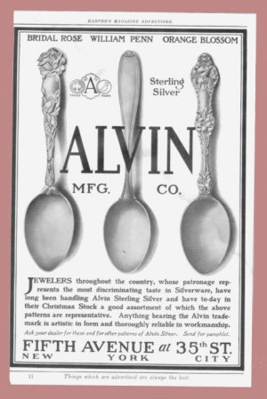 1907 ALVIN STERLING SILVERWARE Vintage Print Ad