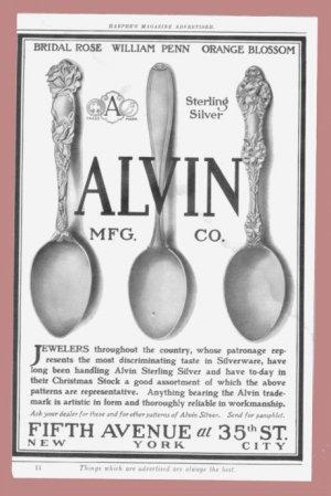 1907 ALVIN STERLING SILVERWARE Vintage Print Ad
