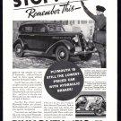 1935 PLYMOUTH Auto Vintage Print Ad