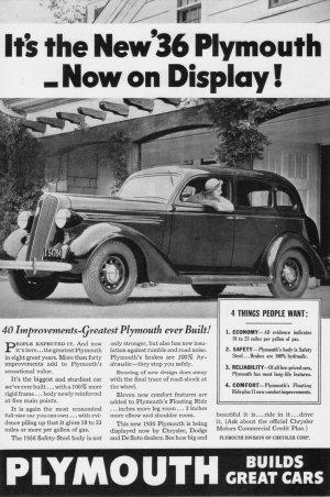 1936 PLYMOUTH Auto Vintage Print Ad