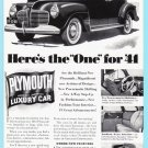 1941 PLYMOUTH Auto Vintage Print Ad