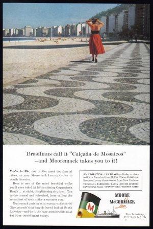1956 Moore McCormack Cruise Line Vintage Print Ad