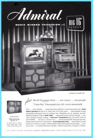 1949 ADMIRAL Radio TV Phonograph Vintage Print Ad