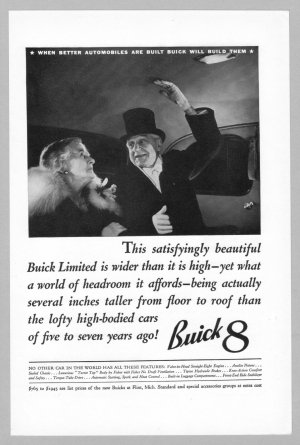 1936 BUICK Print Ad Vintage Car