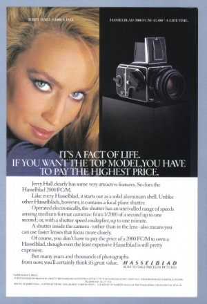 1984 HASSELBLAD Camera Jerry Hall Vintage Print Ad