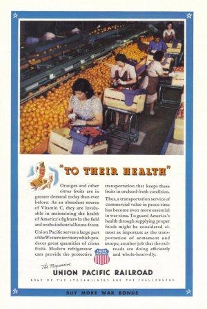 1943 Union Pacific Railroad WWII Era Vintage Print Ad