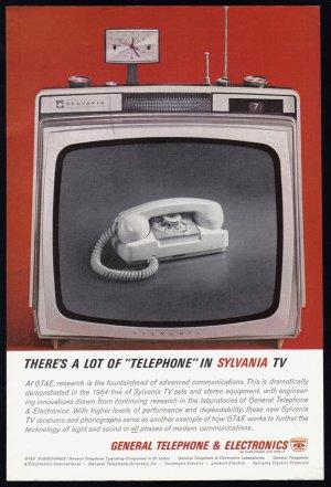 1963 GTE Phone & SYLVANIA TV Vintage Print Ad