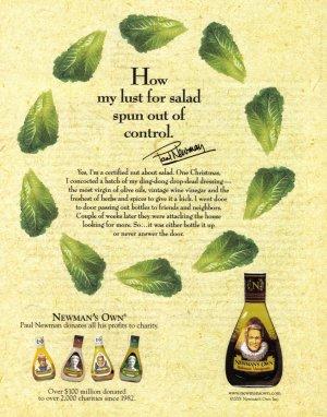 PAUL NEWMAN Salad Dressing 2001 Magazine Print Ad