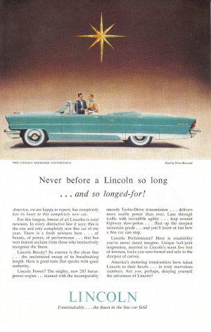 1956 LINCOLN Vintage Auto Print Ad