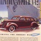1937 LINCOLN ZEPHYR Vintage Auto Print Ad
