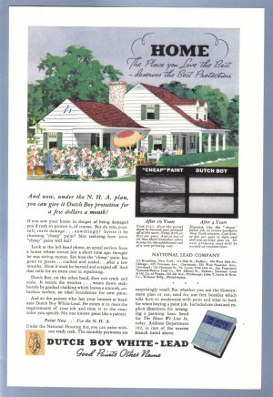 1938 DUTCH BOY HOUSE PAINT Vintage Print Ad