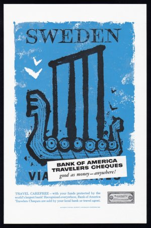 1957 BANK OF AMERICA Vintage SWEDEN Print Ad